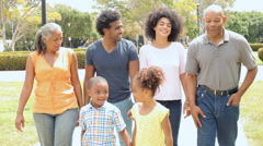 Multi Generation Family Playing Walking In Park Together Stock Footage