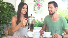 Couple Eating Breakfast Outdoors Together Stock Footage