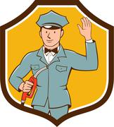 Gas Jockey Attendant Waving Shield Cartoon - stock illustration