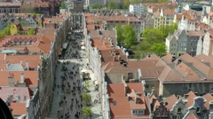 Gdansk, Poland. The Long Market in the old town, view from above Stock Footage