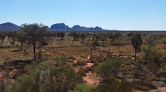 Outback Australia Landscape Red Desert Sand and Dry Arid Grasslands Stock Footage