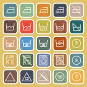 Laundry line flat icons on yellow background - stock illustration