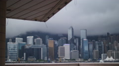 Skyscrapers seen from HK museum of Art buliding 4K Stock Footage