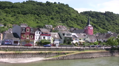 German houses on the banks of the Rhine river Stock Footage