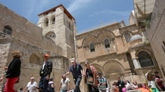 Pilgrims at the Church of the Resurrection in Jerusalem, Israel. Stock Footage