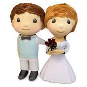 Cartoon illustration of boy and girl in wedding dress - stock illustration