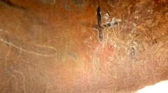 Aboriginal rock art cave painting australia Stock Footage