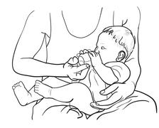 Drawing of father feeding baby with milk in bottle - stock illustration