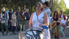 Street Band - Drum & Brass - May Day Social Action - 03 Stock Footage