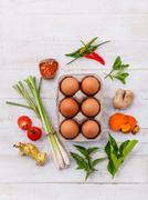 Clean food idea set up on wooden table. - stock photo
