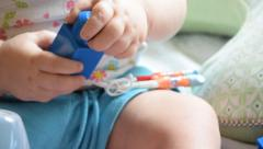 Baby with NG tube and Broviac lines Stock Footage