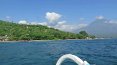 View from boat, lagoon  and green coast  village. Bali, Indonesia Stock Footage