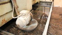 Natural Granite Slab Polishing Stock Footage