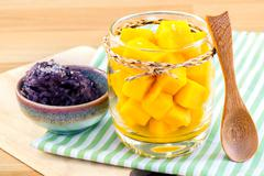 Mango with sticky rice. - The most popular dessert of Thailand. Stock Photos
