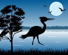 Stork on lake - stock illustration