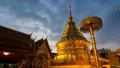 Wat Phra That Doi Suthep Famous Temple of Chiang Mai, Thailand (zoom out) Stock Footage