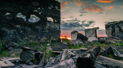 Ruins of buildings at sunset Stock Footage