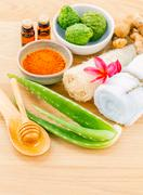 Traditional of thai skin care ingredients. - Macro shot with copy space. Stock Photos