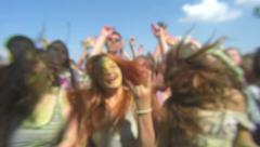 Slow motion crowd of young people enjoying music festival. Stock Footage