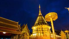 Wat Phra That Doi Suthep Famous Temple of Chiang Mai, Thailand (pan shot) Stock Footage