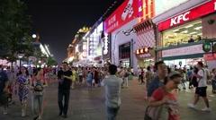 Stock Video Footage of People on a pedestrian street Wangfujing in center of Beijing