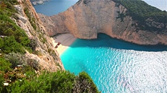 Beautiful Navagio Beach on Zakynthos Island in Greece Stock Footage