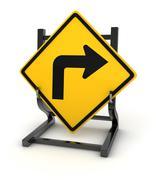 Road sign - turn right - stock illustration