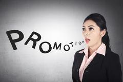 Business Woman Shout Promotion Word Stock Photos