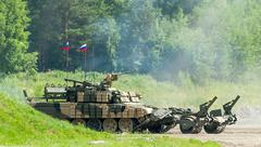 Armored deminer BMR-3M in action. Russia - stock photo