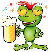 .frog cartoon with schooner beer - stock illustration