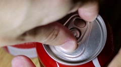 Opening Pop Top of Soda Can Stock Footage