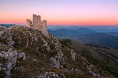 Rocca Calascio at dusk, Abruzzo, Italy - stock photo