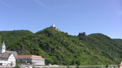 View from the Rhine river towards Sterrenberg atnd Liebensein castles on hill - stock footage