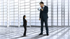 Giant boss yelling on businesswoman with megaphone Stock Footage