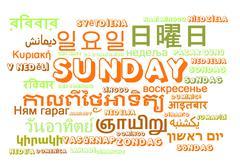 Sunday multilanguage wordcloud background concept - stock illustration