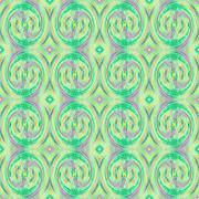 Seamless spiral pattern green purple - stock illustration