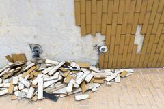Fallen tiles - stock photo