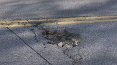 Closeup of pothole Stock Footage