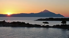Sacred mount Athos in Greece. Sunrise. Stock Footage
