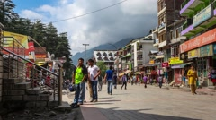 Time Lapse of Street in Manali India Stock Footage