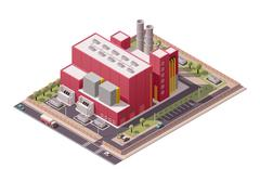 Vector isometric factory buildings icon - stock illustration
