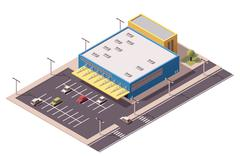Vector isometric shopping mall Stock Illustration