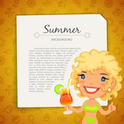 Colorful Summer Background with Blonde Lady - stock illustration