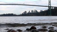 Lions Gate Bridge from West Vancouver - 07 Stock Footage
