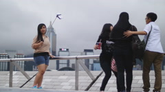 Selfie stick in use in Hong Kong 4K Stock Footage