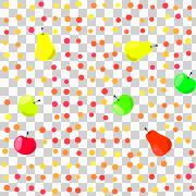 Colorful apples and pears with polka dots on transparent background Stock Illustration