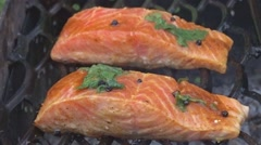 Salmon fillet on the grill Stock Footage
