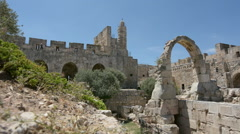 Tower of David and archeological garden in Jerusalem, Israel - stock footage