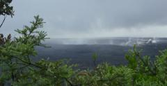 Steam, Native Flora and smoke surround the Kilauea Volcanic Crater - stock footage