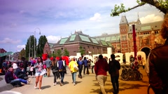 ULTRA HD 4K real time shot,the sign outside Rijksmuseum on Amsterdam Stock Footage